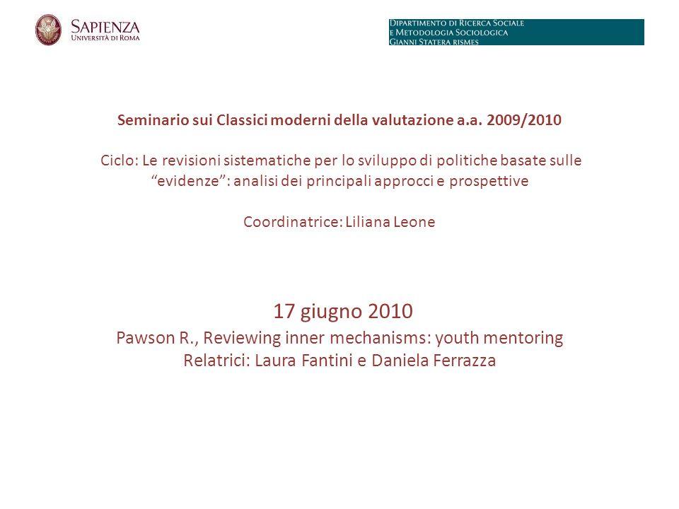 Seminario sui Classici moderni della valutazione a.a.