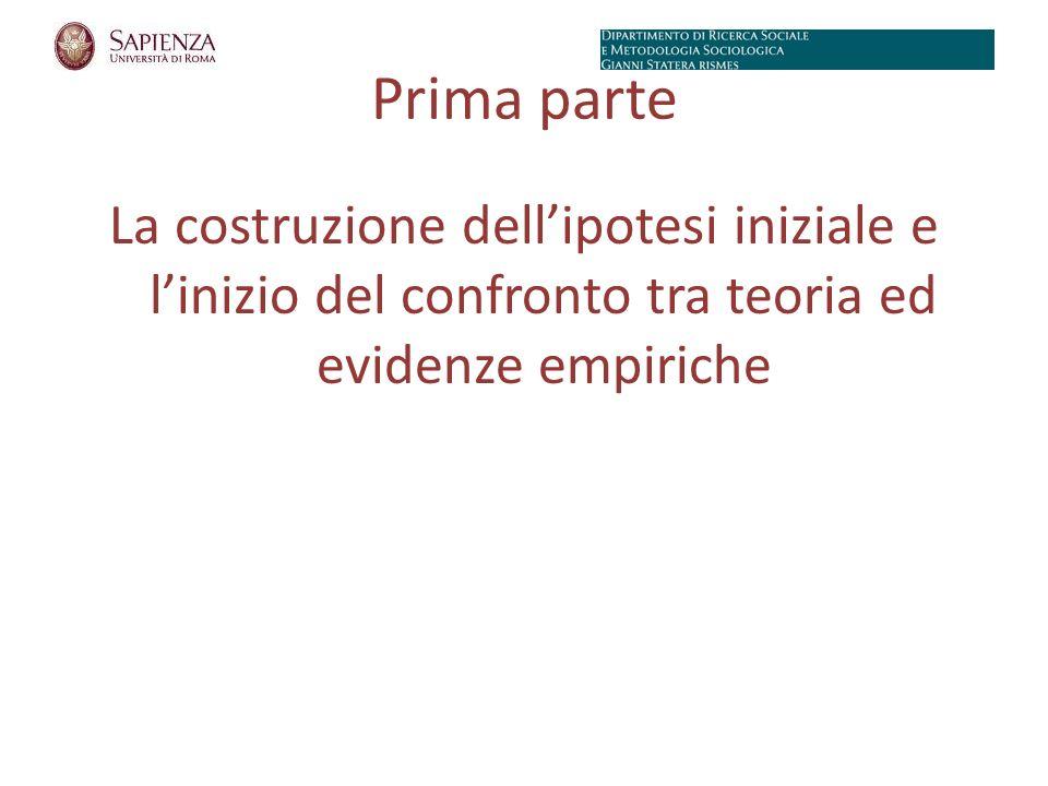 Prima parte La costruzione dellipotesi iniziale e linizio del confronto tra teoria ed evidenze empiriche