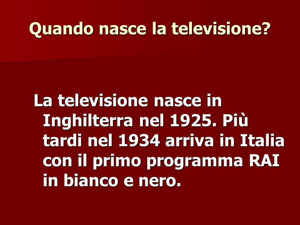 Quando nasce la televisione.La televisione nasce in Inghilterra nel 1925.