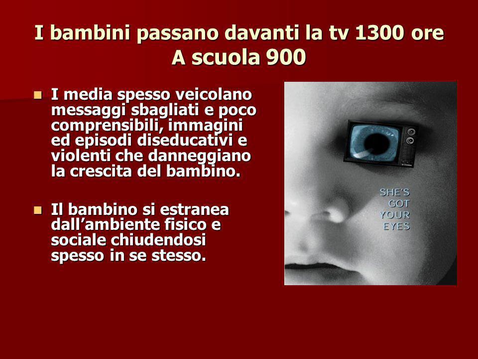I bambini passano davanti la tv 1300 ore A scuola 900 I media spesso veicolano messaggi sbagliati e poco comprensibili, immagini ed episodi diseducativi e violenti che danneggiano la crescita del bambino.