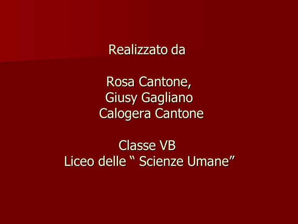 Realizzato da Rosa Cantone, Giusy Gagliano Calogera Cantone Classe VB Liceo delle Scienze Umane
