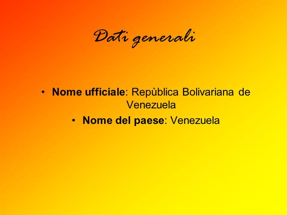Dati generali Nome ufficiale: Repùblica Bolivariana de Venezuela Nome del paese: Venezuela