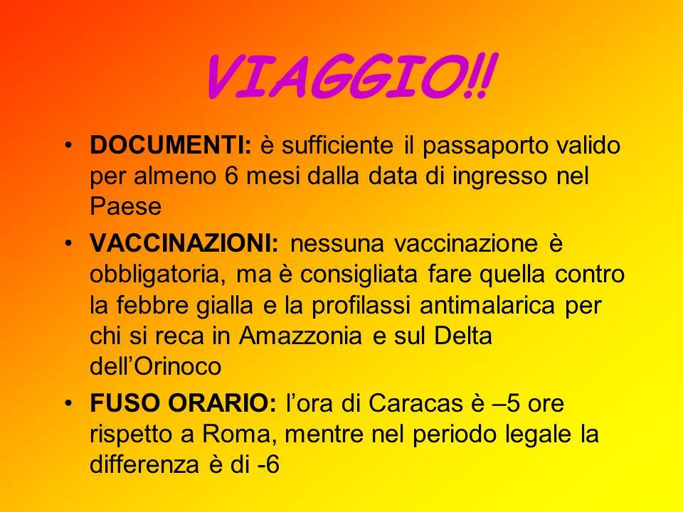 VIAGGIO!! DOCUMENTI: è sufficiente il passaporto valido per almeno 6 mesi dalla data di ingresso nel Paese VACCINAZIONI: nessuna vaccinazione è obblig