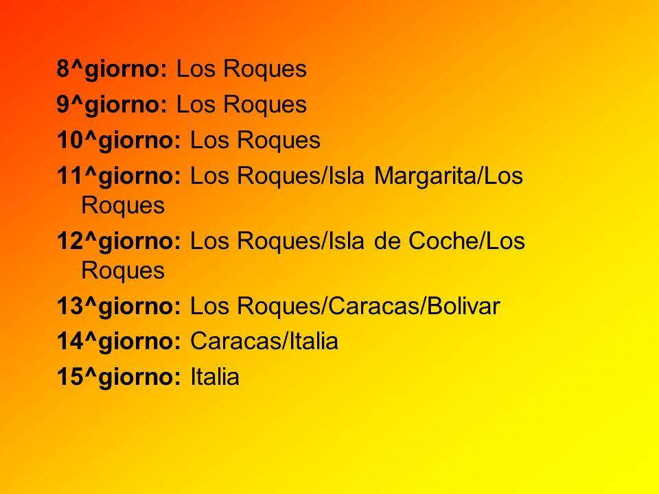 8^giorno: Los Roques 9^giorno: Los Roques 10^giorno: Los Roques 11^giorno: Los Roques/Isla Margarita/Los Roques 12^giorno: Los Roques/Isla de Coche/Lo