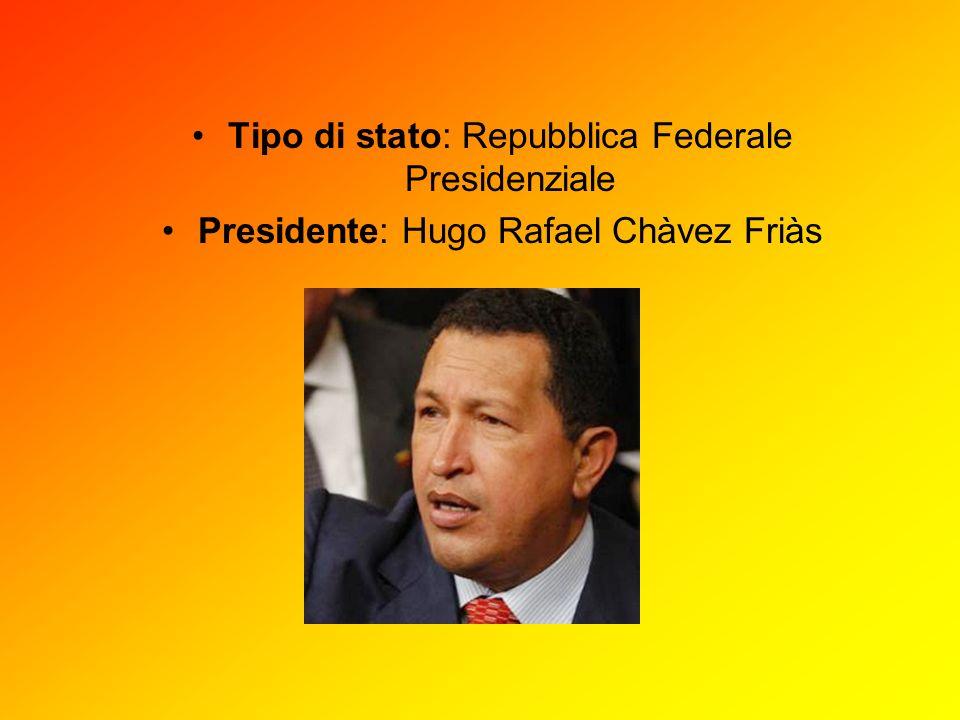 Tipo di stato: Repubblica Federale Presidenziale Presidente: Hugo Rafael Chàvez Friàs