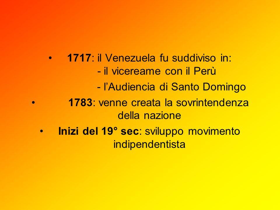 1717: il Venezuela fu suddiviso in: - il vicereame con il Perù - lAudiencia di Santo Domingo 1783: venne creata la sovrintendenza della nazione Inizi