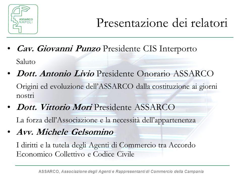 ASSARCO, Associazione degli Agenti e Rappresentanti di Commercio della Campania Presentazione dei relatori Cav.