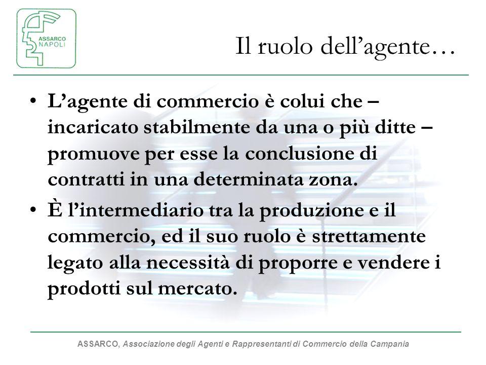 ASSARCO, Associazione degli Agenti e Rappresentanti di Commercio della Campania Il ruolo dellagente… Lagente di commercio è colui che – incaricato stabilmente da una o più ditte – promuove per esse la conclusione di contratti in una determinata zona.