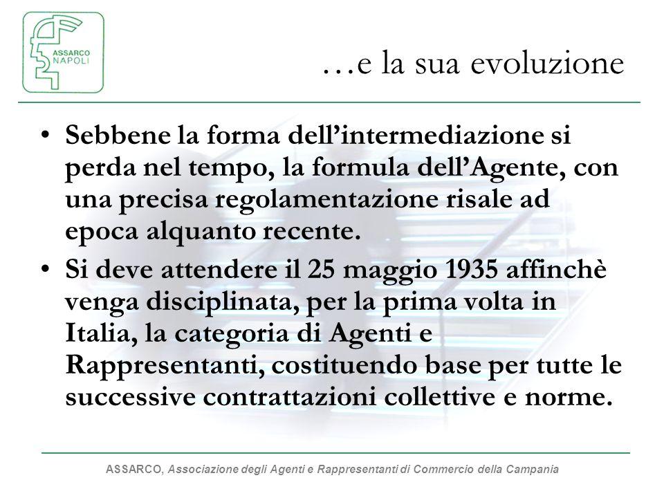 ASSARCO, Associazione degli Agenti e Rappresentanti di Commercio della Campania …e la sua evoluzione Sebbene la forma dellintermediazione si perda nel