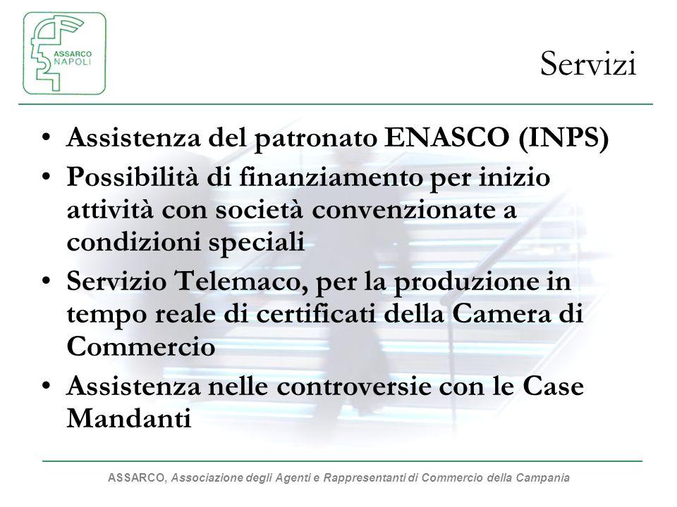 ASSARCO, Associazione degli Agenti e Rappresentanti di Commercio della Campania Servizi Assistenza del patronato ENASCO (INPS) Possibilità di finanzia