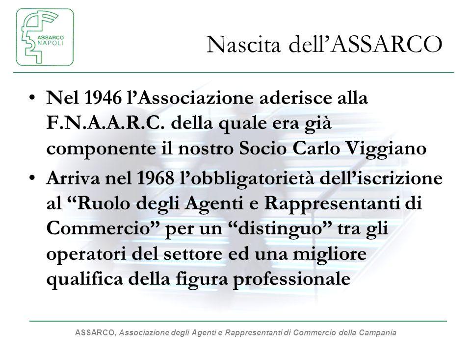 ASSARCO, Associazione degli Agenti e Rappresentanti di Commercio della Campania Nascita dellASSARCO Nel 1946 lAssociazione aderisce alla F.N.A.A.R.C.