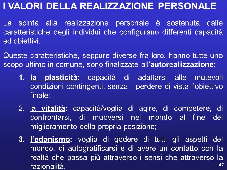 47 I VALORI DELLA REALIZZAZIONE PERSONALE La spinta alla realizzazione personale è sostenuta dalle caratteristiche degli individui che configurano dif