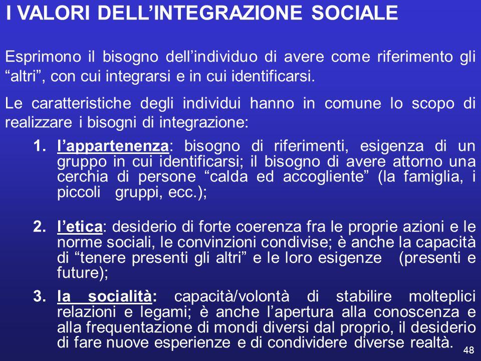 48 I VALORI DELLINTEGRAZIONE SOCIALE Esprimono il bisogno dellindividuo di avere come riferimento gli altri, con cui integrarsi e in cui identificarsi