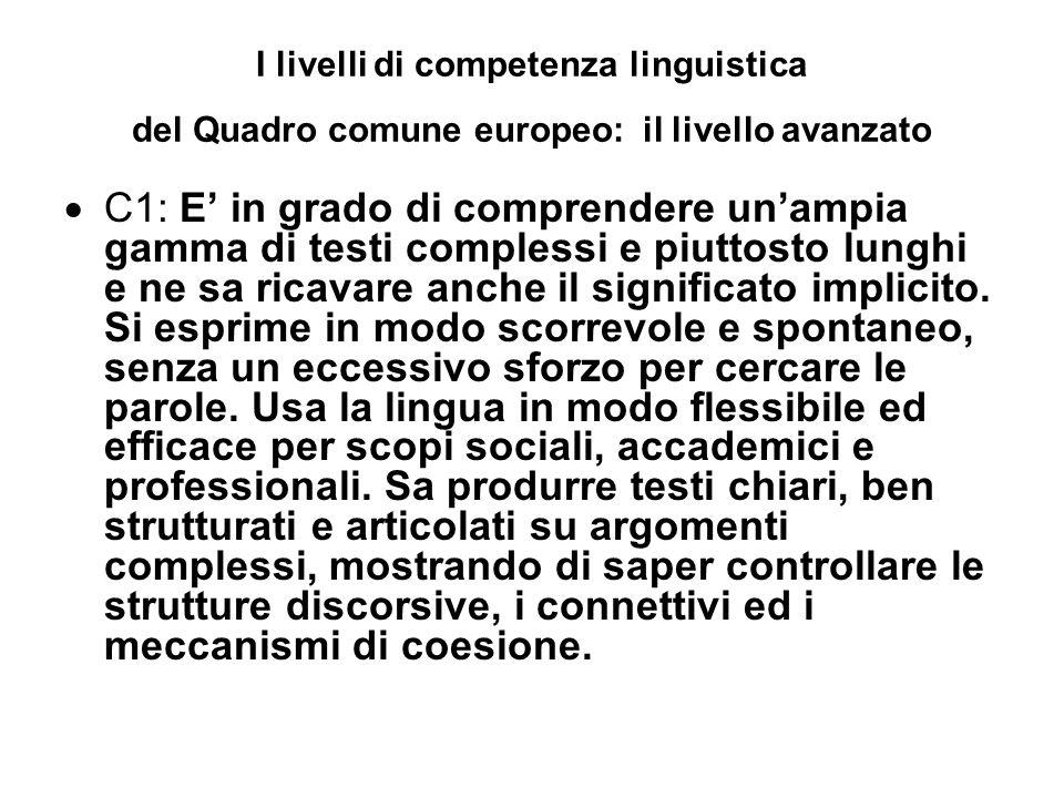 I livelli di competenza linguistica del Quadro comune europeo: il livello avanzato C1: E in grado di comprendere unampia gamma di testi complessi e piuttosto lunghi e ne sa ricavare anche il significato implicito.