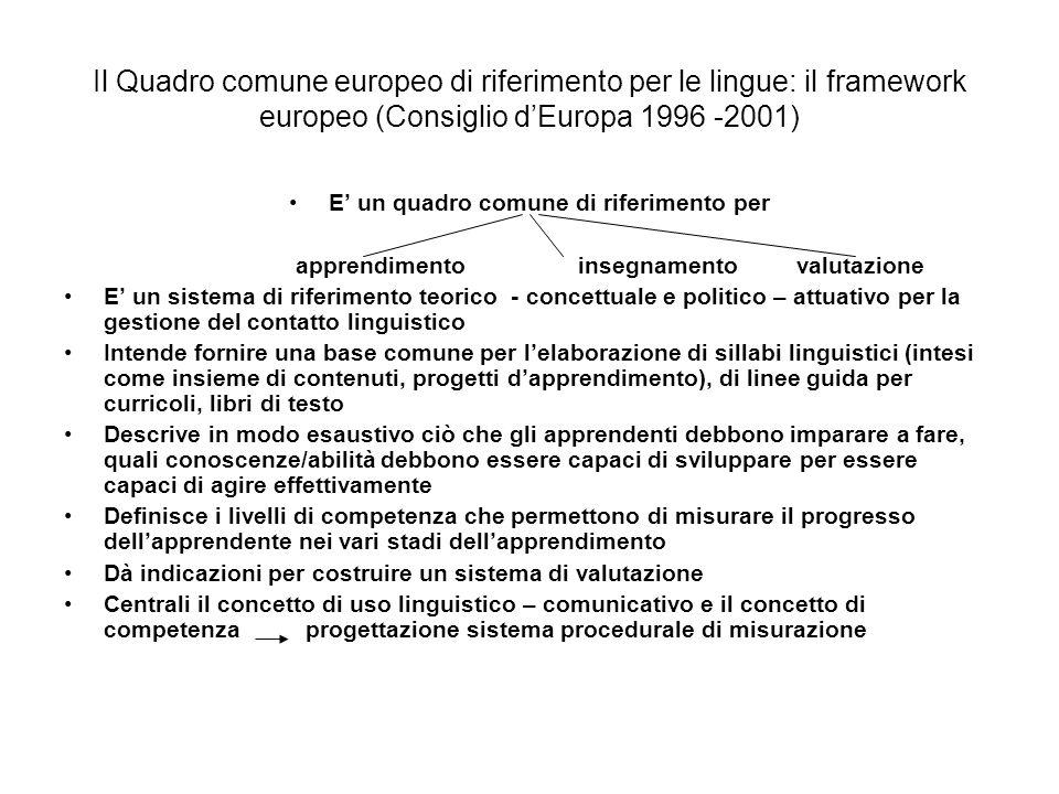 I livelli di competenza linguistica del Quadro comune europeo: il livello elementare A1: Riesce a comprendere e utilizzare espressioni familiari di uso quotidiano e formule molto comuni per soddisfare bisogni di tipo concreto.