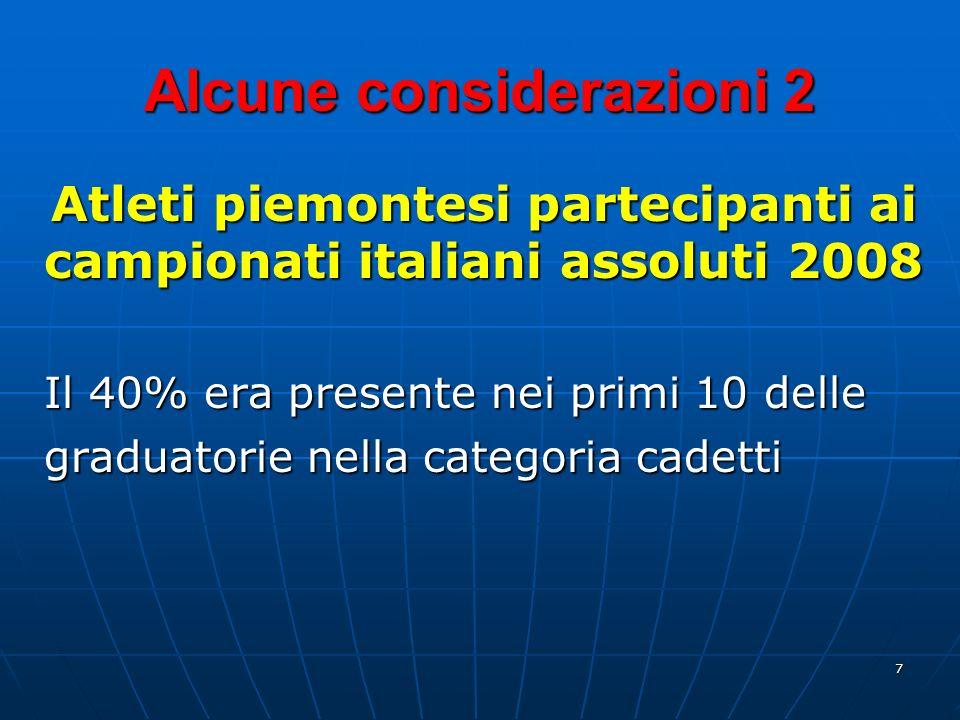 7 Alcune considerazioni 2 Atleti piemontesi partecipanti ai campionati italiani assoluti 2008 Il 40% era presente nei primi 10 delle graduatorie nella categoria cadetti