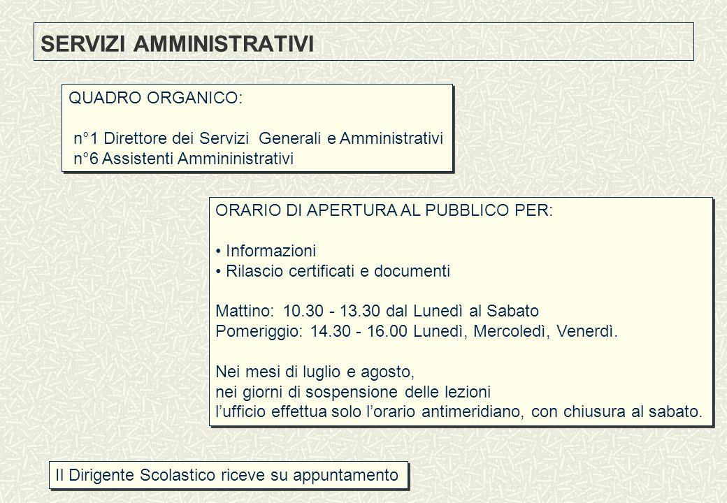 SERVIZI AMMINISTRATIVI QUADRO ORGANICO: n°1 Direttore dei Servizi Generali e Amministrativi n°6 Assistenti Ammininistrativi QUADRO ORGANICO: n°1 Diret