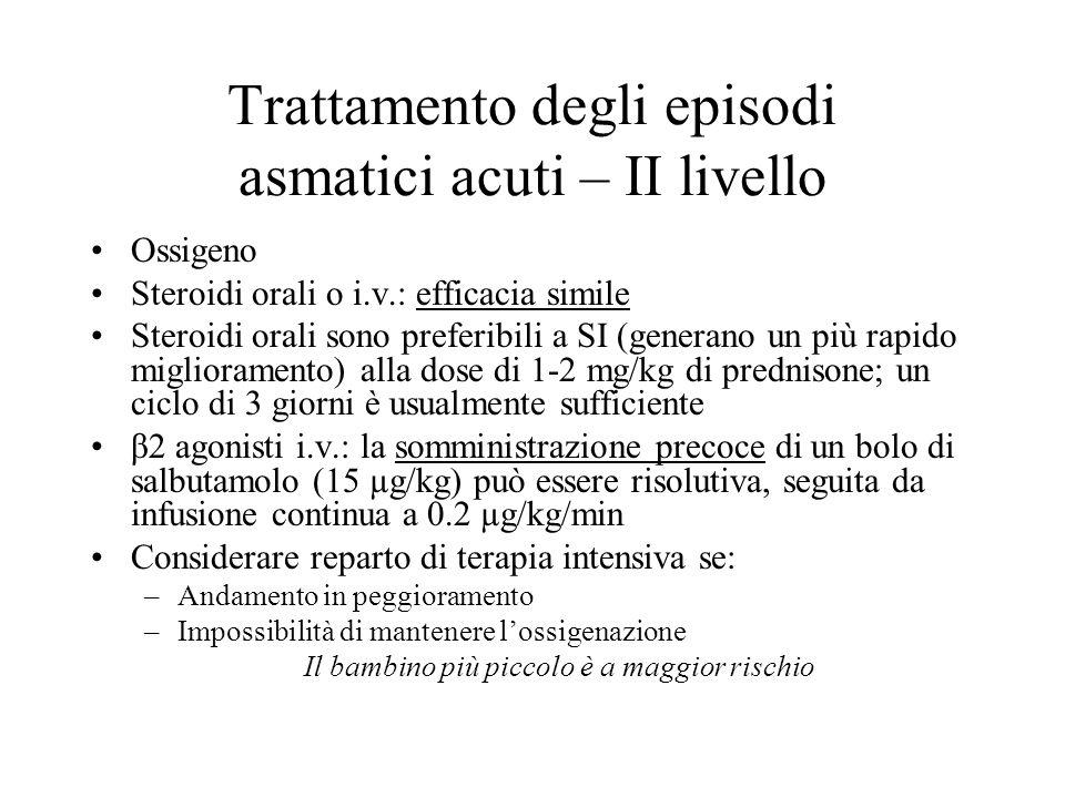 Trattamento degli episodi asmatici acuti – II livello Ossigeno Steroidi orali o i.v.: efficacia simile Steroidi orali sono preferibili a SI (generano