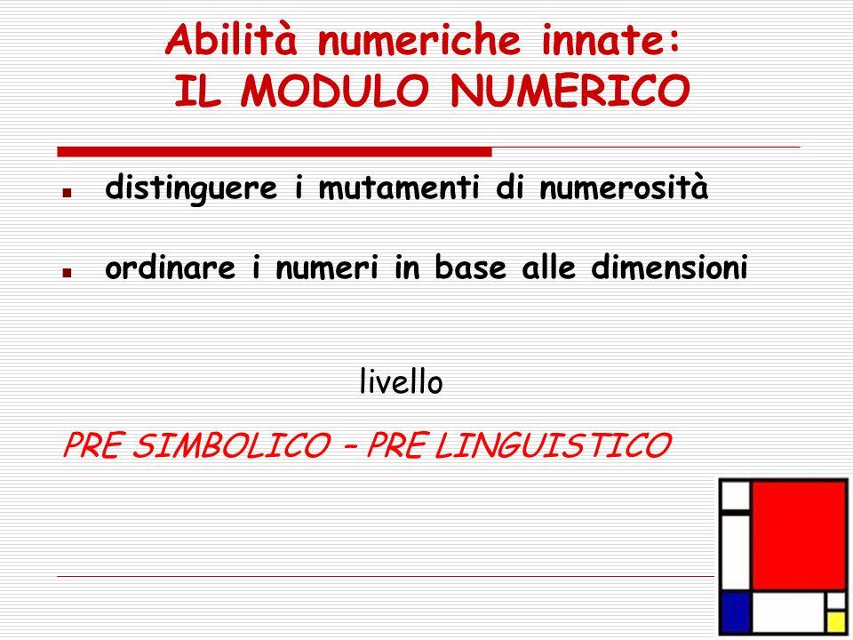 Abilità numeriche innate: IL MODULO NUMERICO distinguere i mutamenti di numerosità ordinare i numeri in base alle dimensioni livello PRE SIMBOLICO – P