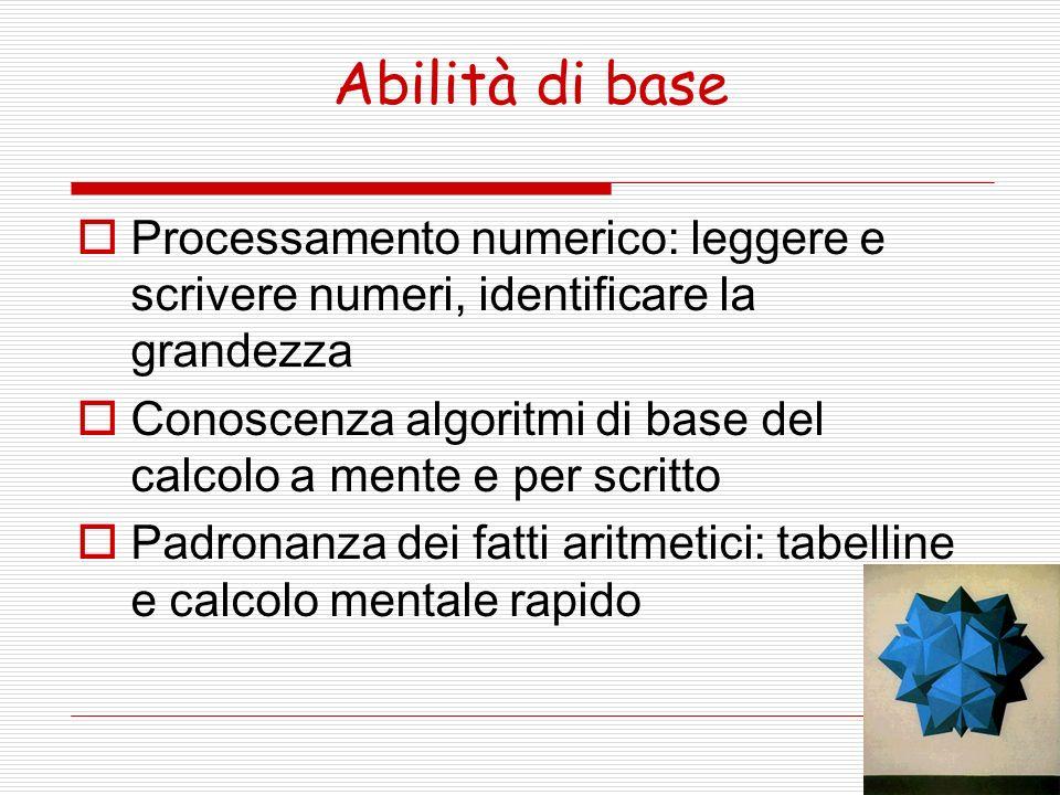 Abilità di base Processamento numerico: leggere e scrivere numeri, identificare la grandezza Conoscenza algoritmi di base del calcolo a mente e per sc