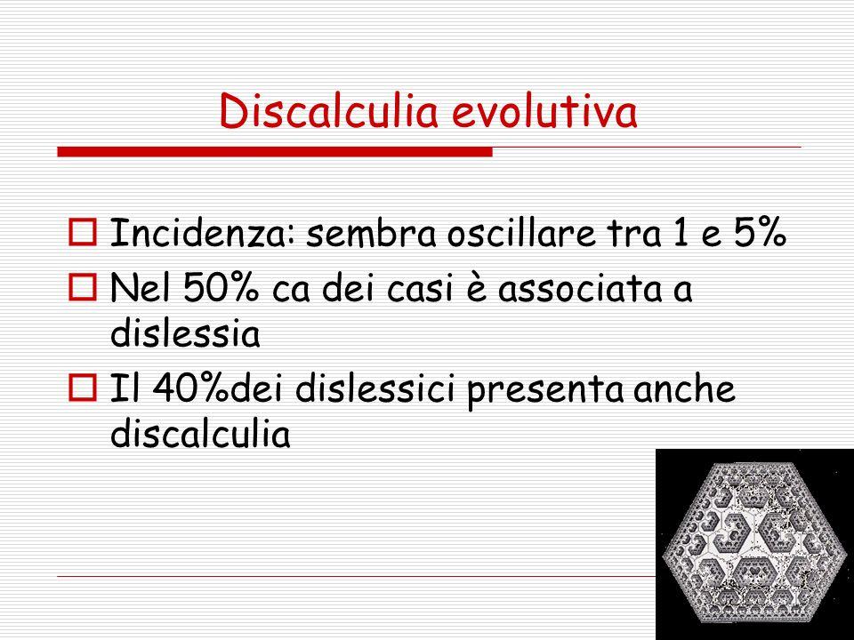 Discalculia evolutiva Incidenza: sembra oscillare tra 1 e 5% Nel 50% ca dei casi è associata a dislessia Il 40%dei dislessici presenta anche discalcul