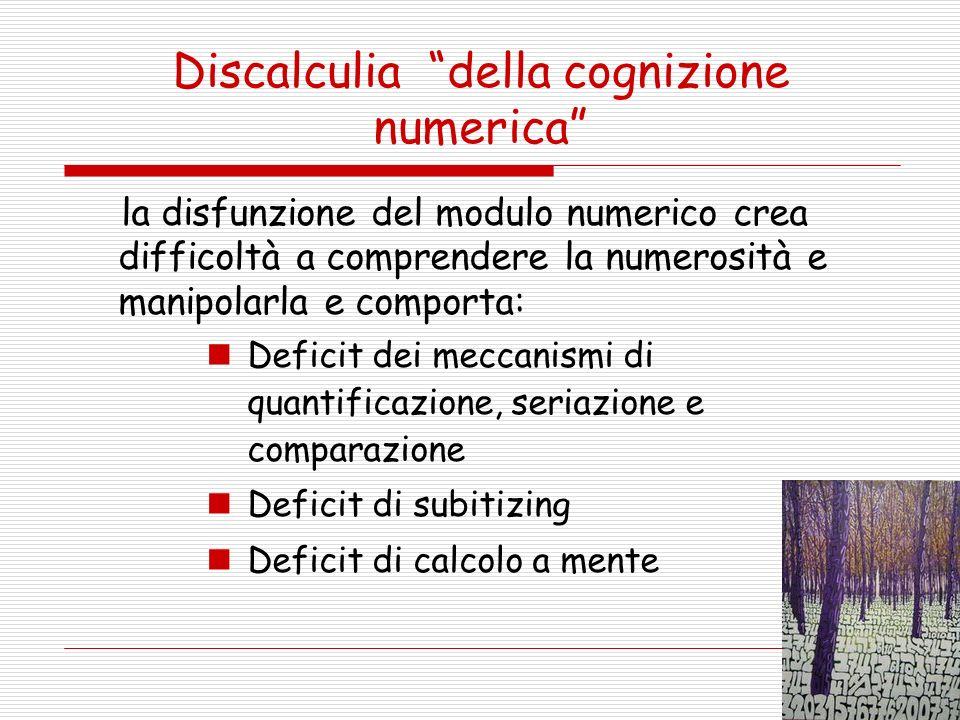 Discalculia della cognizione numerica la disfunzione del modulo numerico crea difficoltà a comprendere la numerosità e manipolarla e comporta: Deficit