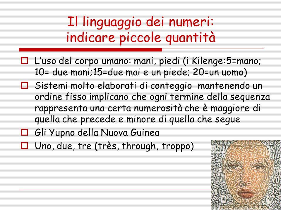 Il linguaggio dei numeri: indicare piccole quantità Luso del corpo umano: mani, piedi (i Kilenge:5=mano; 10= due mani;15=due mai e un piede; 20=un uom