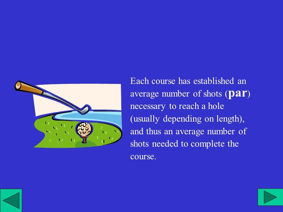 Ogni percorso ha stabilito un numero medio di colpi ( par ) necessario per raggiungere una buca (di solito dipende dalla lunghezza) e quindi un numero medio di colpi necessari a completare il percorso.