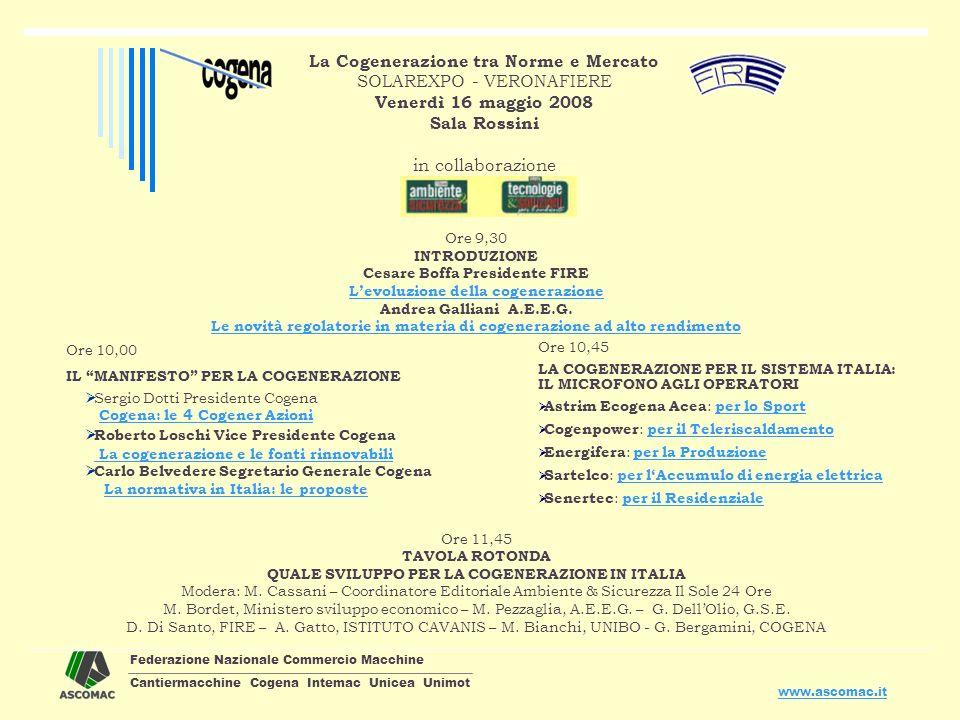 Federazione Nazionale Commercio Macchine Cantiermacchine Cogena Intemac Unicea Unimot www.ascomac.it La Cogenerazione tra Norme e Mercato SOLAREXPO -