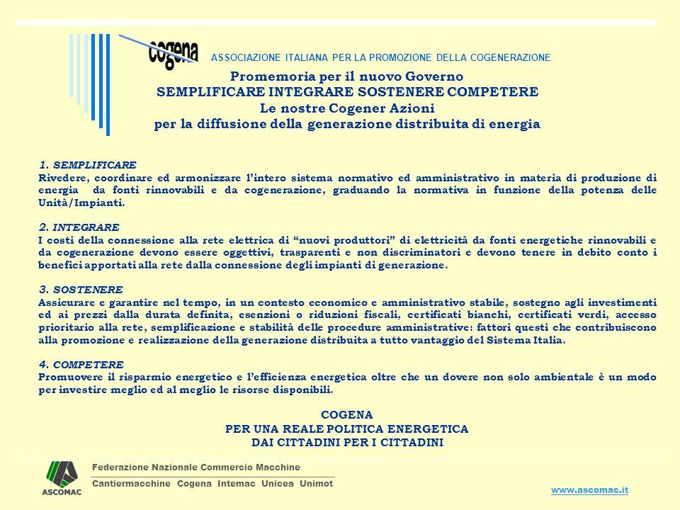 Federazione Nazionale Commercio Macchine Cantiermacchine Cogena Intemac Unicea Unimot www.ascomac.it Promemoria per il nuovo Governo SEMPLIFICARE INTE