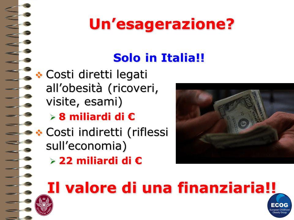 Unesagerazione? Solo in Italia!! Solo in Italia!! Costi diretti legati allobesità (ricoveri, visite, esami) Costi diretti legati allobesità (ricoveri,