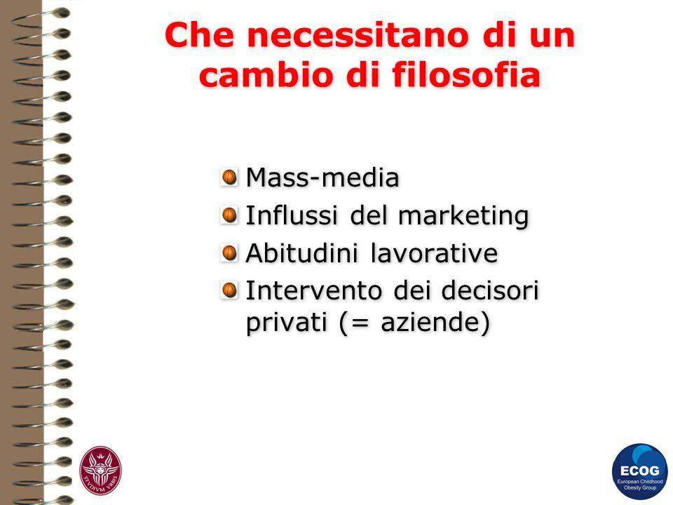Che necessitano di un cambio di filosofia Mass-media Influssi del marketing Abitudini lavorative Intervento dei decisori privati (= aziende) Mass-medi