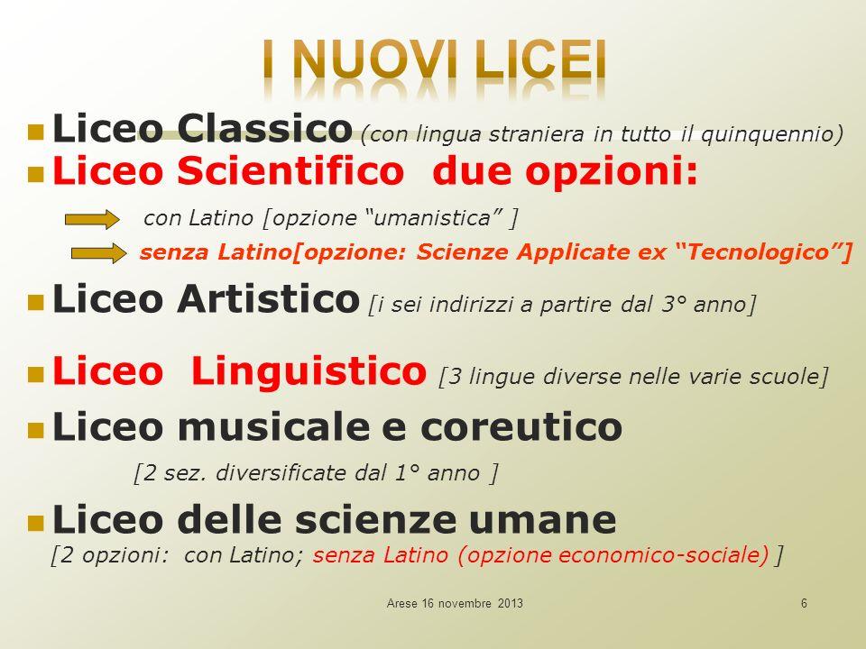 Arese 16 novembre 20137 7 LICEO SCIENTIFICO due opzioni: Tradizionale con latino e con aumentato peso: della matematica (dalla 2^: +1h ) e delle discipline scientifiche (Fisica: 1^+2h; 2^+2h; 3^+1h; Sc.