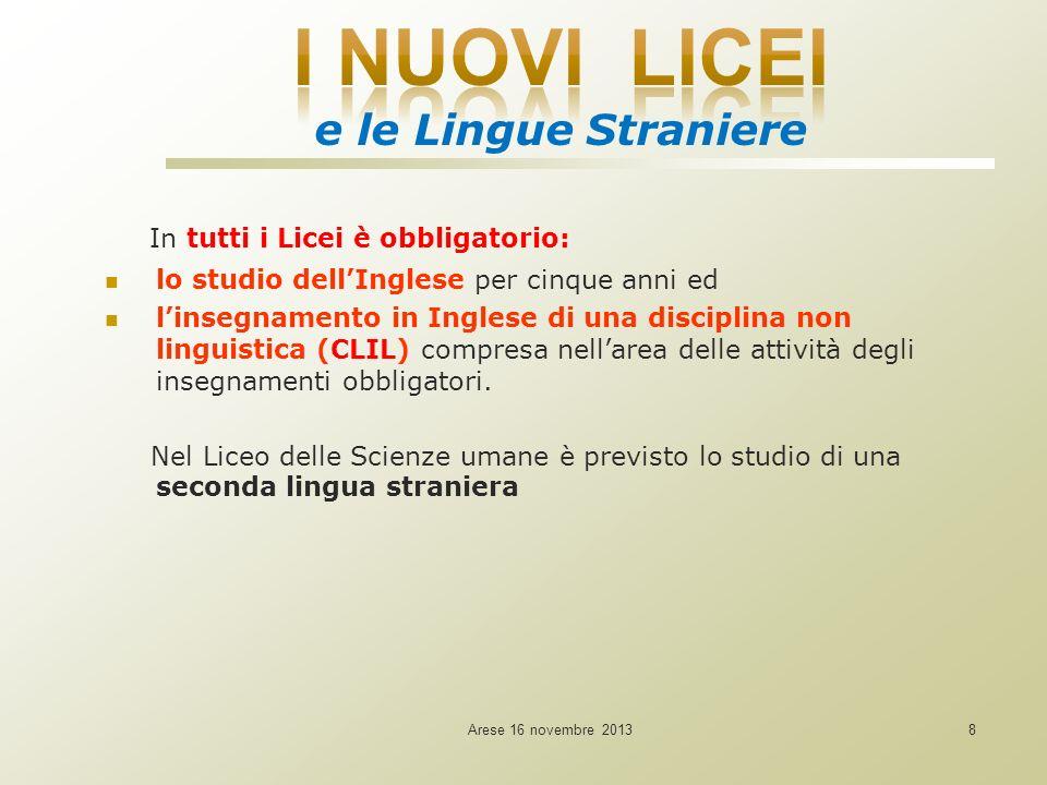 Arese 16 novembre 20138 In tutti i Licei è obbligatorio: lo studio dellInglese per cinque anni ed linsegnamento in Inglese di una disciplina non linguistica (CLIL) compresa nellarea delle attività degli insegnamenti obbligatori.