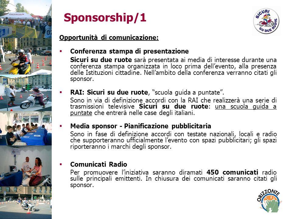 Sponsorship/1 Opportunità di comunicazione: Conferenza stampa di presentazione Sicuri su due ruote sarà presentata ai media di interesse durante una conferenza stampa organizzata in loco prima dellevento, alla presenza delle Istituzioni cittadine.