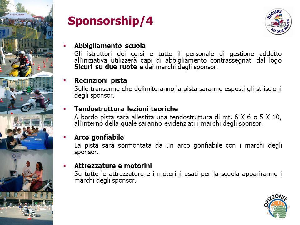 Sponsorship/4 Abbigliamento scuola Gli istruttori dei corsi e tutto il personale di gestione addetto alliniziativa utilizzerà capi di abbigliamento contrassegnati dal logo Sicuri su due ruote e dai marchi degli sponsor.