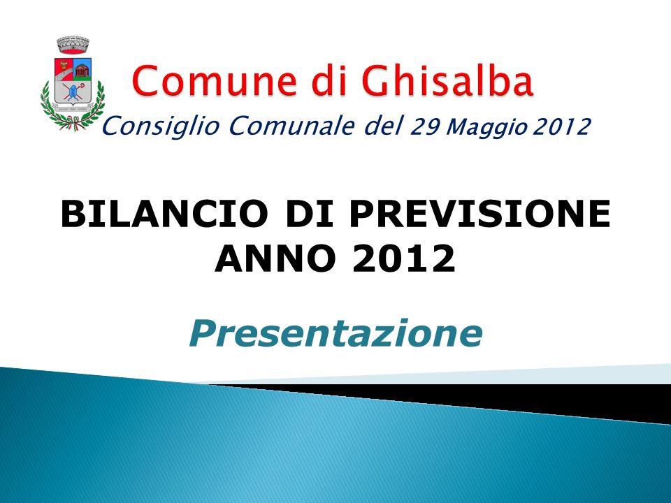 BILANCIO DI PREVISIONE ANNO 2012 Presentazione Consiglio Comunale del 29 Maggio 2012