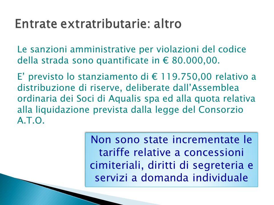 Entrate extratributarie: altro Le sanzioni amministrative per violazioni del codice della strada sono quantificate in 80.000,00.