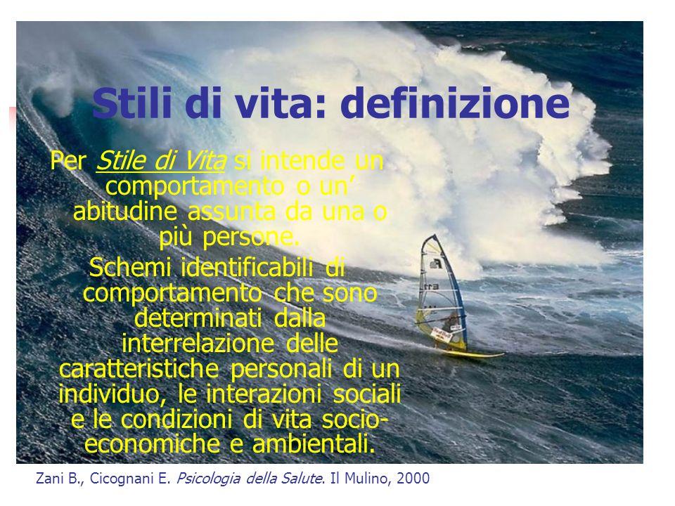Stili di vita: definizione Per Stile di Vita si intende un comportamento o un abitudine assunta da una o più persone.
