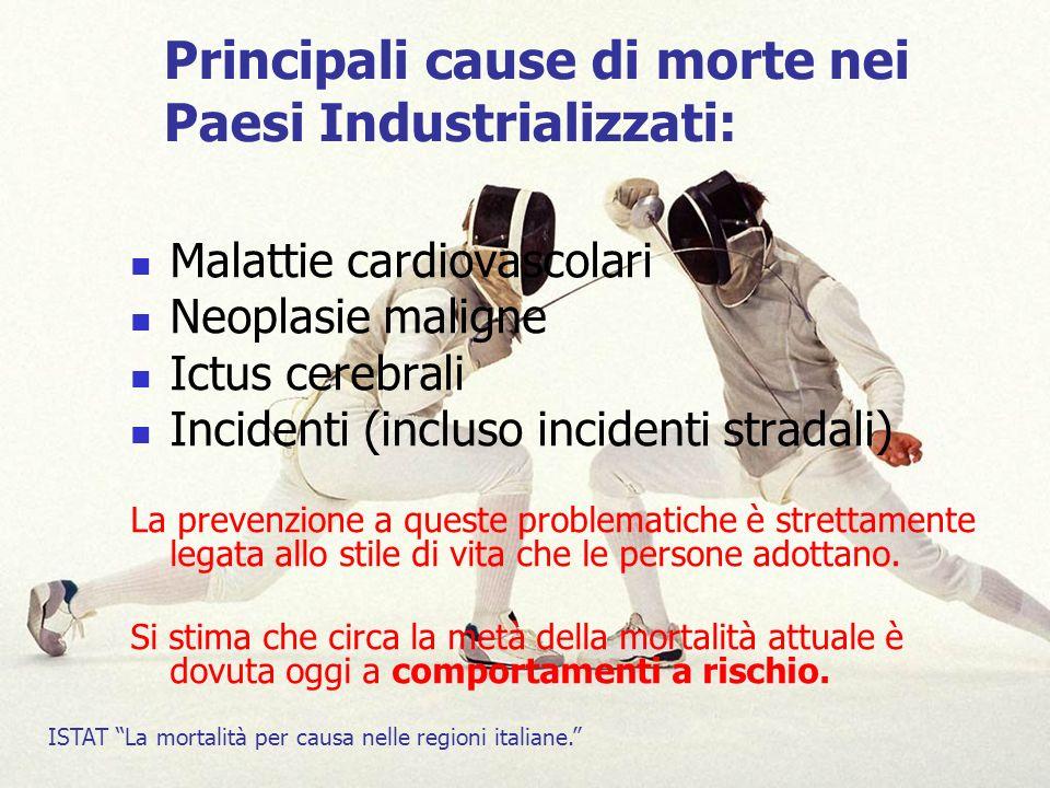 Principali cause di morte nei Paesi Industrializzati: Malattie cardiovascolari Neoplasie maligne Ictus cerebrali Incidenti (incluso incidenti stradali) La prevenzione a queste problematiche è strettamente legata allo stile di vita che le persone adottano.