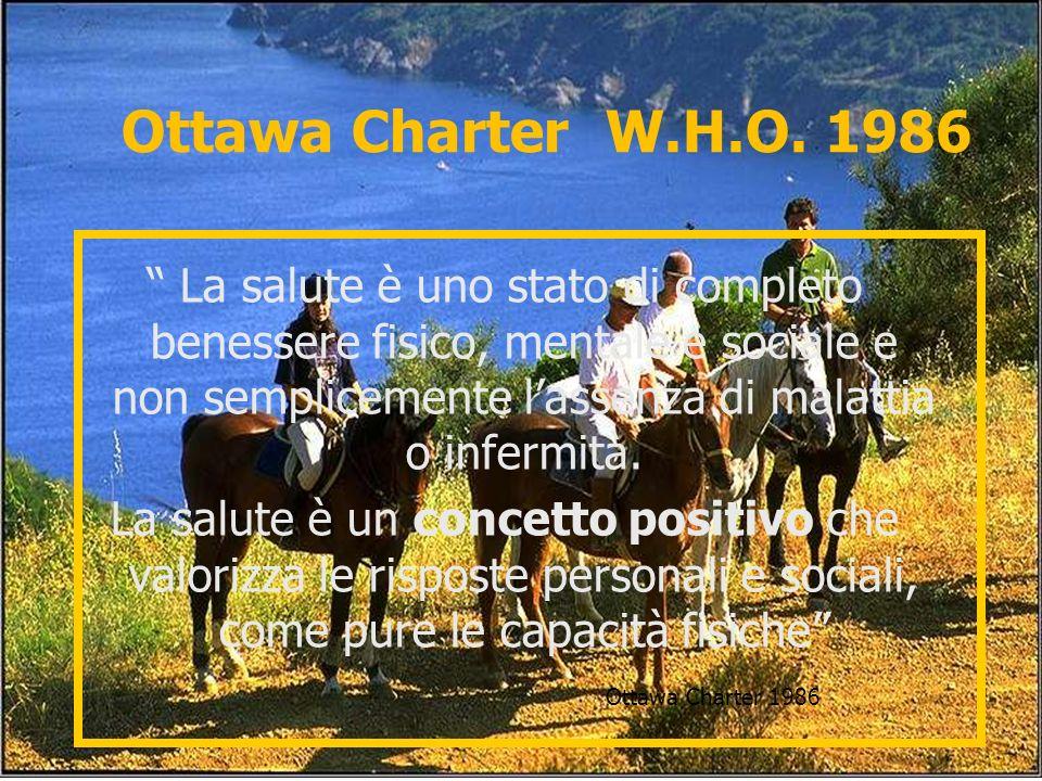 Ottawa Charter W.H.O. 1986 La salute è uno stato di completo benessere fisico, mentale e sociale e non semplicemente lassenza di malattia o infermità.