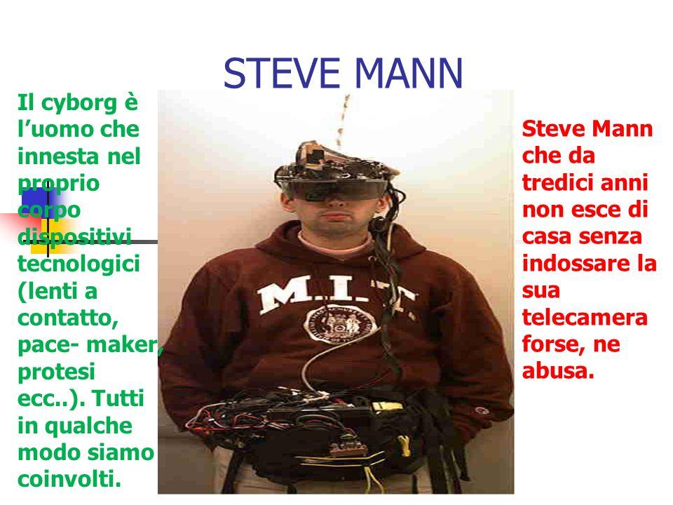 STEVE MANN Il cyborg è luomo che innesta nel proprio corpo dispositivi tecnologici (lenti a contatto, pace- maker, protesi ecc..).