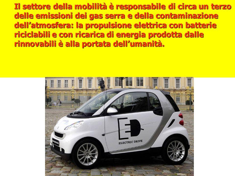Il settore della mobilità è responsabile di circa un terzo delle emissioni dei gas serra e della contaminazione dellatmosfera: la propulsione elettrica con batterie riciclabili e con ricarica di energia prodotta dalle rinnovabili è alla portata dellumanità.
