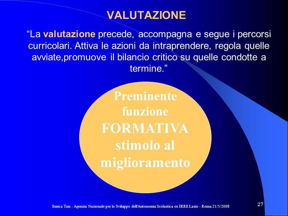 Enrica Tais - Agenzia Nazionale per lo Sviluppo dell Autonomia Scolastica ex IRRE Lazio - Roma 21/5/2008 27 VALUTAZIONE La valutazione precede, accompagna e segue i percorsi curricolari.