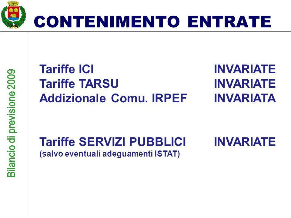 CONTENIMENTO ENTRATE Tariffe ICIINVARIATE Tariffe TARSUINVARIATE Addizionale Comu.