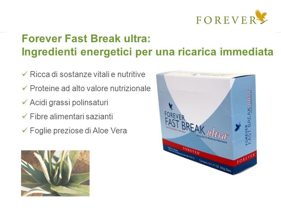 Forever Fast Break ultra: Ingredienti energetici per una ricarica immediata Ricca di sostanze vitali e nutritive Proteine ad alto valore nutrizionale