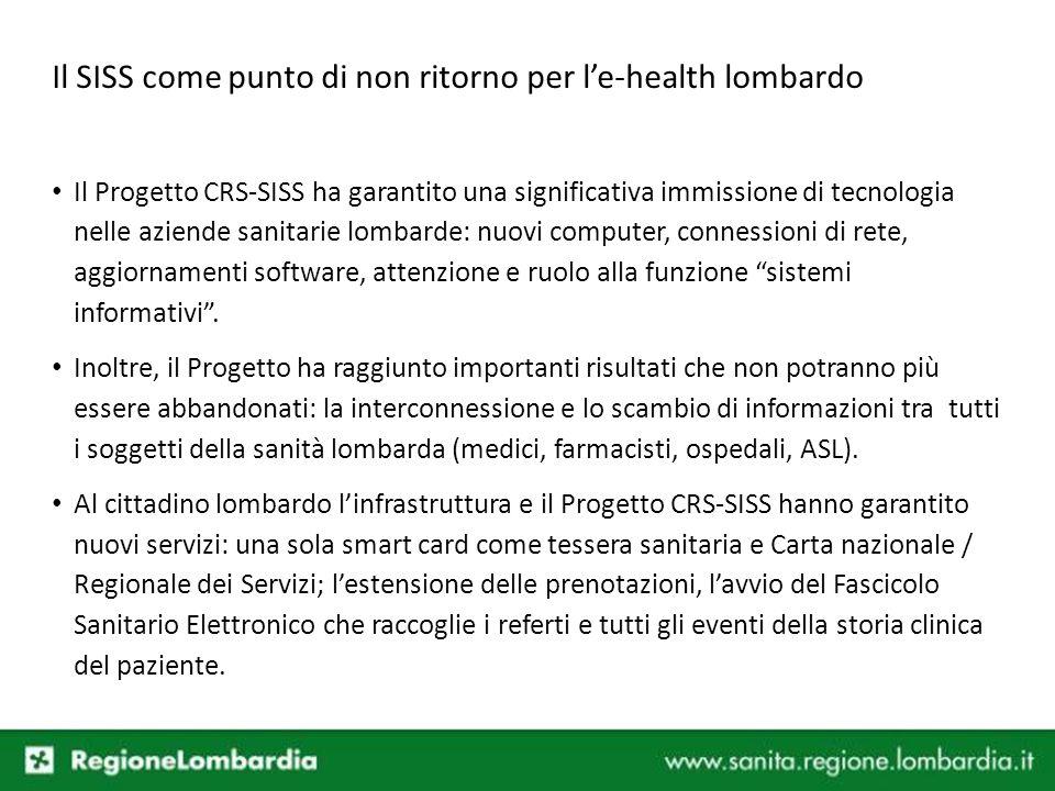 Il Progetto CRS-SISS ha garantito una significativa immissione di tecnologia nelle aziende sanitarie lombarde: nuovi computer, connessioni di rete, ag