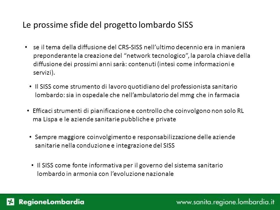 Le prossime sfide del progetto lombardo SISS se il tema della diffusione del CRS-SISS nellultimo decennio era in maniera preponderante la creazione de