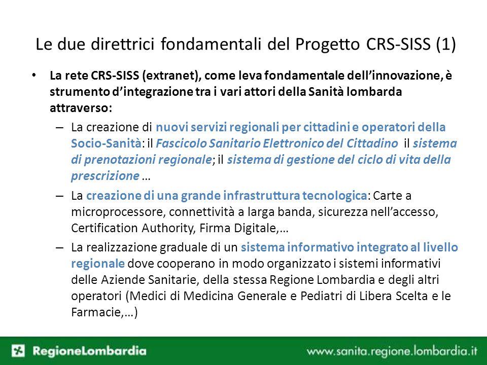 Le due direttrici fondamentali del Progetto CRS-SISS (1) La rete CRS-SISS (extranet), come leva fondamentale dellinnovazione, è strumento dintegrazion