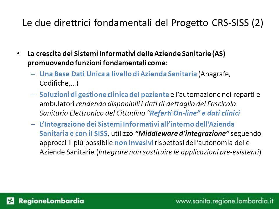 Le due direttrici fondamentali del Progetto CRS-SISS (2) La crescita dei Sistemi Informativi delle Aziende Sanitarie (AS) promuovendo funzioni fondame
